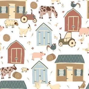 Farm houses and barn animals