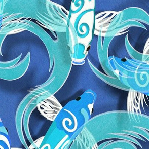 Blue Koi on Deep Blue Paper