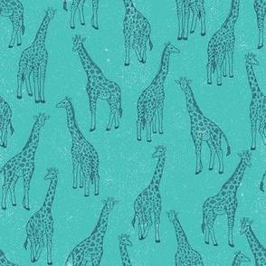 Teal Safari Giraffes by ArtfulFreddy