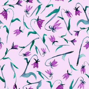 Bluebells in purple watercolor pattern