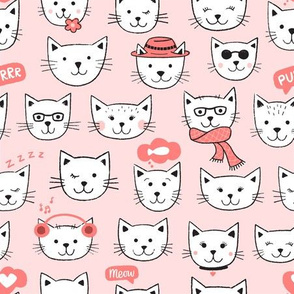 Happy Cats white on pink