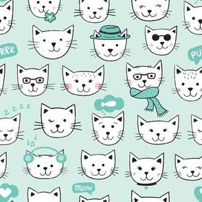 Happy Cats white on aqua