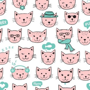 Happy Cats - pink on white
