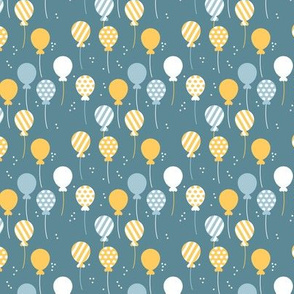 Party balloon fun birthday wedding theme in modern yellow blue neutral