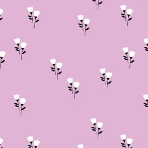 Sweet tulip flowers spring summer garden botanical Scandinavian minimalist design nursery soft lilac purple