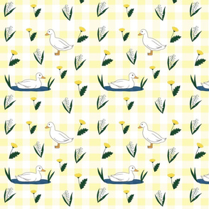 Spring Yellow Duck Gingham