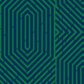 Labyrinth Geometric in Navy & Kelly Green