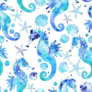 Seahorses and Starfish Watercolour