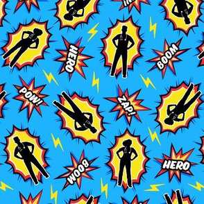(small scale) medical superhero - nursing nurse doctor hero fabric - red/yellow on blue - LAD20