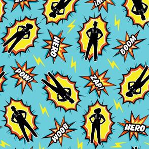 medical superhero - nursing nurse doctor hero fabric - yellow on OG blue - LAD20