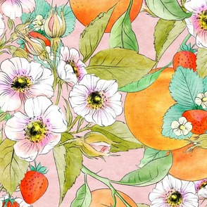 Oranges and roses and Strawberries Peach