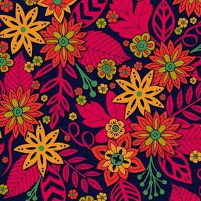 Vibrant Magenta, Orange, Yellow & Green Floral Pattern