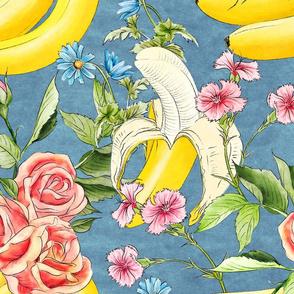 Banana chintz teal