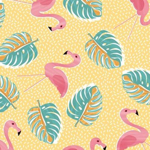 Ditsy flamingos and monsteria - yellow