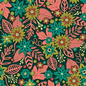 Modern Floral In Green, Teal, Pink & Red