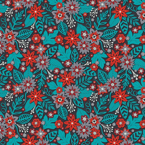 Turquoise Blue, Red & Gray Floral Pattern