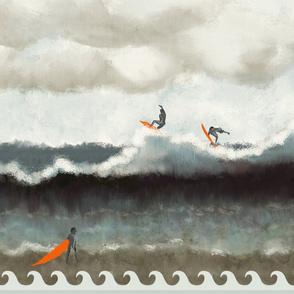 Ocean surfer seamless pattern