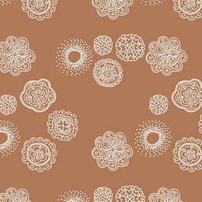 Blossom mandala abstract flower illustrations sweet romantic floral boho design spring summer rust brown neutral