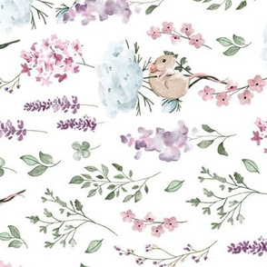 Watercolor Wildflowers - meadow mouse - ROTATED