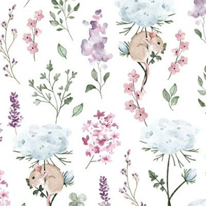 Watercolor Wildflowers - meadow mouse - BIG