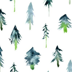 Deep emerald magic woodland - watercolor fir trees for modern christmas, nursery, xmas