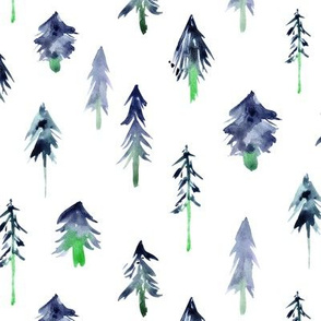 Magic woodland in blue ★ watercolor fir trees for modern nursery, christmad