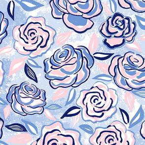 sketchy roses/blue blush/large