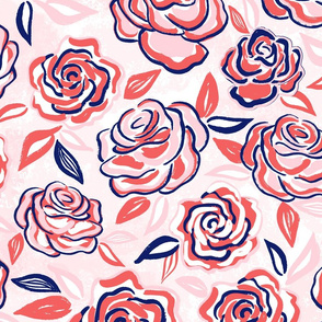 sketchy roses/coral/large