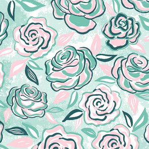 sketchy roses/pink mint/large