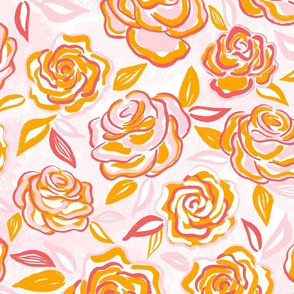 sketchy roses/orange/large