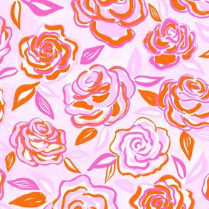 sketchy roses/bright pink/large