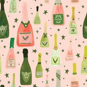 Pink Champagne Bottles on Blush