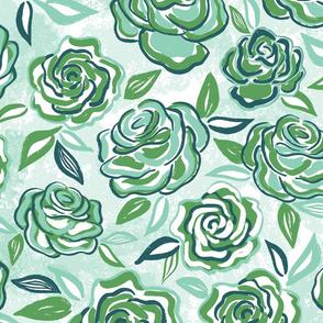 sketchy roses/green/large