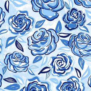 sketchy roses/blue/large