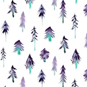 Purple and emerald magic woodland - watercolor christmas fir trees - xmas fur trees