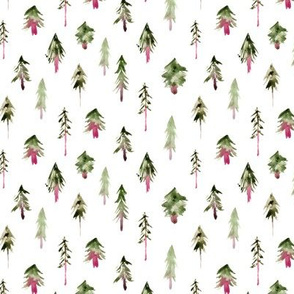 Magic woodland in khaki and pink - small scale - watercolor trees for xmas