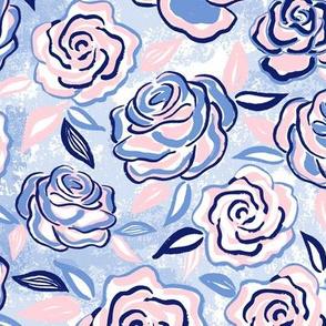 sketchy roses/blue blush/medium