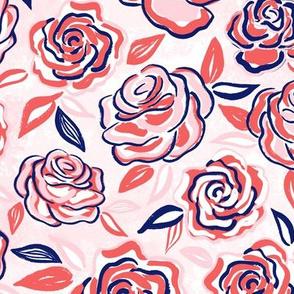 sketchy roses/coral/medium