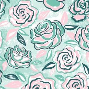 sketchy roses/pink mint/medium