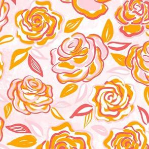 sketchy roses/orange/medium