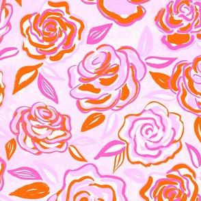 sketchy roses/bright pink/medium