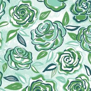 sketchy roses/green/medium