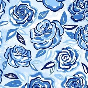sketchy roses/blue/medium
