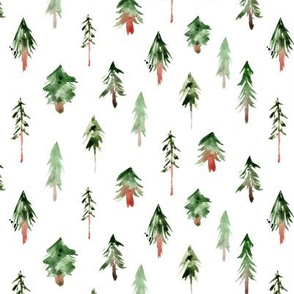 magic woodland ★ watercolor fir trees for modern nursery, christmas, fairytale xmas