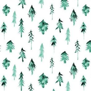 Emerald magic woodland - watercolor tidewater green fur trees - xmas trees