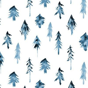 Denim blue magic woodland - monochrome christmas pattern - fur trees - fir trees forest