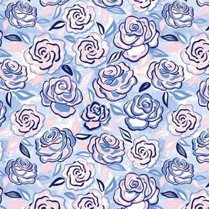 sketchy roses/blue blush/small
