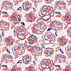 sketchy roses/coral/small