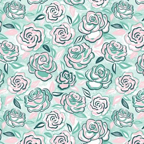 sketchy roses/pink mint/small