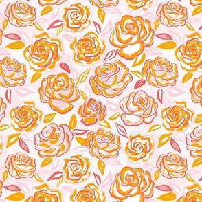 sketchy roses/orange/small
